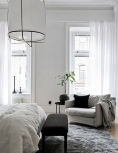 Home Bedroom grey white sofa bedding lamp curtains minimalism rug pillows Pinterest: inspiration feed