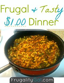 $1 dinner. Super cheap meal to make for a lazy night. www.frugalitygal.com