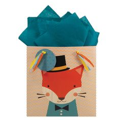 """Animal Faces"" fox party bag: Petit Collage for The Gift Wrap Company"