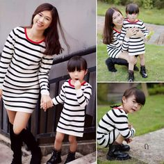 Top quality Family fashion spring autumn mother and Daughter one-piece dress knitted striped style Dresses Casual sweaters Cloth #>=#>=#>=#>=#> Click on the pin to check out discount price, color, size, shipping, etc. Save and like it!