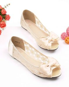 Handmade lace Wedding shoes open toe Bridal shoes by Phoenixinfire