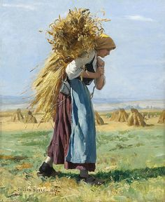 Julien Dupré (French painter) 1851 - 1910 In the Fields, 1887 oil on canvas 18 x 15 in. Barbizon School, Illustration Art, Illustrations, Wow Art, Beautiful Paintings, Figurative Art, Oeuvre D'art, Female Art, Painting & Drawing