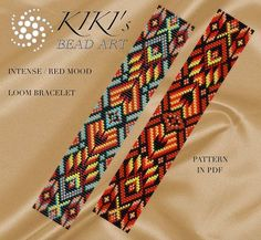 Bead loom pattern Intense mood LOOM bracelet PDF by KikisBeadArts Loom Bracelet Patterns, Bead Loom Bracelets, Bead Loom Patterns, Jewelry Patterns, Beading Patterns, Loom Bands, Art Perle, Loom Beading, Beading Tutorials