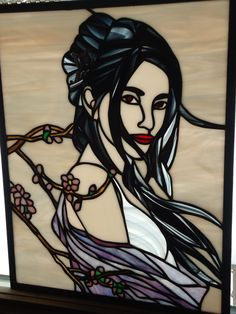 Stained Glass Portrait of a Girl Window Decor Panel by Elemachco, $175.00