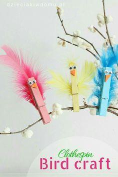 Clothespin bird craft idea for kids bird crafts preschool, easter crafts kids, spring crafts Easter Crafts For Kids, Crafts To Do, Preschool Crafts, Diy For Kids, Easy Crafts, Children Crafts, Spring Toddler Crafts, Spring Kids Craft, Birds For Kids