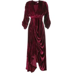 Preen By Thornton Bregazzi 'Rebecca' draped velvet dress (129.555 RUB) ❤ liked on Polyvore featuring dresses, red, preen dress, red dress, red draped dress, drapey dress and drape dress