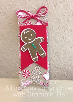 Cookie cutter Stampin up holiday mini 2016 Christmas tag Christmas Gift Tags, Christmas Crafts, Christmas Decorations, Fun Crafts, Paper Crafts, Card Crafts, Gingerbread Ornaments, Gingerbread Man, Christmas Catalogs