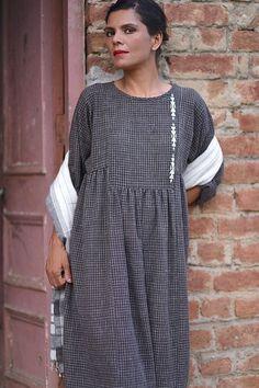 Osaka Organic Kala Cotton Dress in Black check by kinchebyPayal