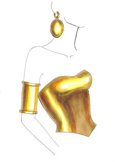 How to draw gold step by step. Fashion illustration tutorial