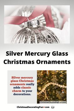 Silver mercury glass Christmas ornaments really adds classic charm to your decorations. You can use them to hang on your Christmas tree, place in the garland on your mantel and even used as a time-honored way to dress up a mirror. Tie these onto your Christmas tree using thin silver ribbon or any color ribbon that works with your theme. Add a few to highlight the garland on your mantel or stair rail. They really make an elegant statement when hung on antique mirrors. Country Christmas, White Christmas, Christmas Fun, Christmas Wreaths, Christmas Decorations For The Home, Glass Christmas Ornaments, Favorite Christmas Songs, Favorite Holiday, Christmas Gift Guide