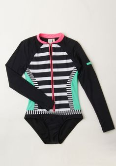 Surfing the Swells One-Piece Swimsuit. Standing tall atop your surfboard in this striped long-sleeved swimsuit, you ride the waves back to shore. #black #modcloth, great for me since I have to get less sun exposure, who knew they even made little suits like this. :)