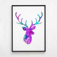 Deer print. Stag poster. Watercolor decor. Animal print.    Printed on high quality art paper.    SIZES:    8.3 x 11.7 (A4)  11.7 x 16.5 (A3)