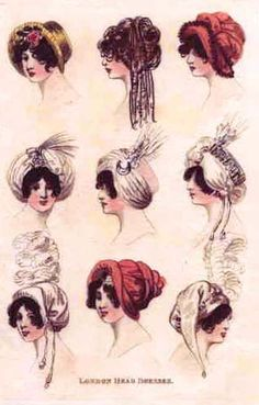 English Regency  hats | Lizzie liked the style of turban at the top right