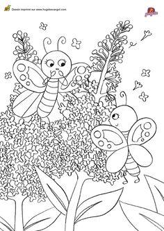Un papillon avec des ailes motifs fleurs dessin colorier dessin pinterest - Colorier une fleur ...