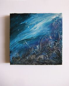 Bombora - Original Abstract Textured Painting on Canvas - Deep Turquoise and Silver Flows of Strokes / Waves / Sea by ChingTeoh on Etsy