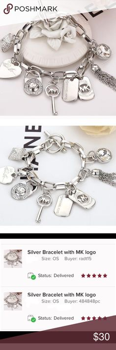 Gorgeous MK Silver Bracelet Gorgeous MK Silver Bracelet!                                          ❤️Brand New and High Quality  ❤️This is NOT Michael Kors, but a beautiful bracelet-identical to MK!  ❤️ Always 5 stars item! ⭐️⭐️⭐️⭐️⭐️ ❤️They sell fast !!! 💨Don't miss it!! 💕❤️ Jewelry Bracelets