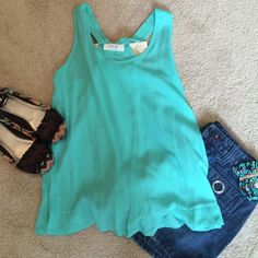 NWT Adorable Tank NWT Teal Gauzy Tank with Lace Bow in back - 100% polyester - PRICE FIRM UNLESS.BUNDLED Peach Love  Tops Tank Tops