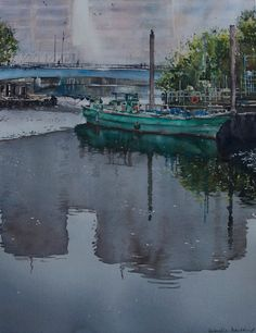 Gabrielle Moulding - Green Boat and Reflections
