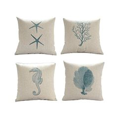 """Cotton and Flax Ocean Park Theme Decorative Pillow Cover Case D 18"""" X 18"""" Square Shape-ocean-beach-sea-print-green-starfish-seahorse-voyage (Four-piece) 