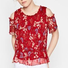 Zara Red chiffon blouse Zara red chiffon blouse... Flower pattern.. New with tags... Zara Tops Blouses