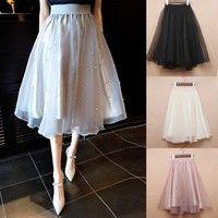 2015 spring summer new long skirt Beaded waist elastic solid ladies Eugen Tutu Skirt yarn