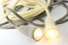 Modern lighting - Tricotin handmade lamps by Perrine from Desaccord Lampe Crochet, Knit Crochet, Textile World, Spool Knitting, Knitting Humor, Handmade Lamps, Modern Crochet, The Design Files, Blog Deco