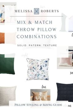 I am breaking down all thing's decorative pillows, including a sizing chart for pillow inserts, & a how-to guide on styling pillows using the correct sizes. Down Pillows, Bed Pillows, Accent Pillows, Cushions, Mix Match, Black And White Pillows, Pillow Arrangement, Green Pillows, Pillow Room
