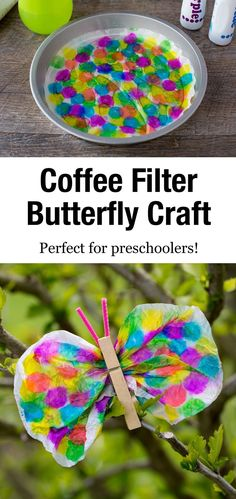 Not only is this Coffee Filter Butterfly lovely, but it is packed with fine-motor skills! Dabbing, squeezing, scrunching, pinching…it's perfect for kids! via activities for toddlers eyfs Coffee Filter Butterfly Craft Coffee Filter Crafts, Coffee Crafts, Coffee Filters, Spring Crafts For Kids, Summer Crafts, Art For Kids, Kid Art, Preschool Crafts, Easter Crafts