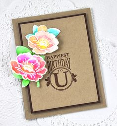 Happiest Birthday To U Card by Dawn McVey for Papertrey Ink (August 2015)