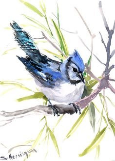 Blue Jay, Original watercolor painting, 9 X 12 in, blue bird wall art, yard birds