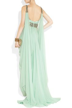 Aqua silk-chiffon Clear crystal and green bead embellishment with gold threadwork, draped sides and back, short train, fully lined Concealed hook and zip fastening at back 100% silk Dry clean