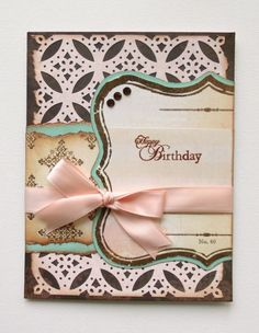 Lacy, vintage happy birthday card