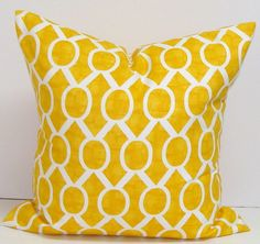 SALE.Yellow.Pillow.14x14 inch.Decorator Pillow Covers.Printed Fabric Front and Back.Yellow Ikat Pillows.Housewares.Home Decor.Cushions.cm