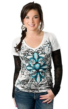 026dd9611fb69 Rock  amp  Roll Cowgirl® Womens White with Turquoise Fleur Cross with Black  Burnout Long