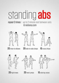 Standing Abs Workout - hmmm definitely worth a go! and it's good to do something… Mo Ab Workout Men, Abs Workout Routines, Workout Board, Workout Belt, Beginners Cardio, Standing Ab Exercises, Standing Abs Workout, Lower Ab Workouts, Core Workouts