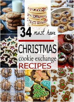 34 Must-Have Christmas Cookie Exchange Recipes Christmas Deserts, Christmas Food Gifts, Christmas Cookie Exchange, Best Christmas Cookies, Vegan Christmas, Holiday Cookies, Christmas Candy, Holiday Baking, Christmas Baking