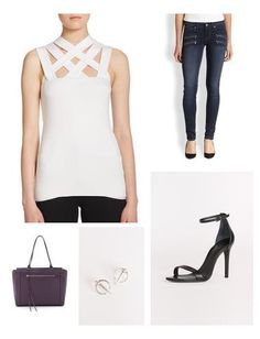 The Bailey44 top is visually interesting and makes quite an impact, elevating any piece it's paired with. For this weekend chic look, I have opted for Paige jeans with zipper details, sleek Schutz sandals, and a deep purple bag - the color of eggplants. Contemporary earrings complete the ensemble.