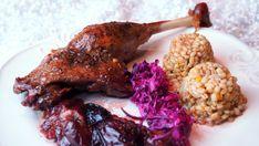 Uda gęsi ze śliwkami w aromacie tymiankowym, z pęczakiem jęczmiennym z dynią Chicken, Food, Meal, Essen, Cubs