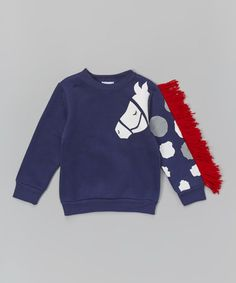 Another great find on #zulily! Dark Blue Horse Sleeve Sweatshirt - Infant, Toddler & Girls #zulilyfinds