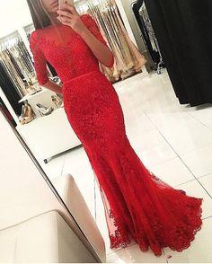 Mermaid Red Prom Dress Evening Dress,Lace Prom Dress,Long
