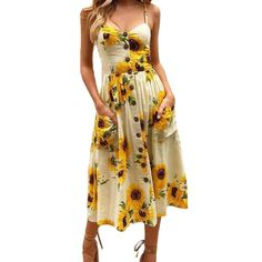 Sexy V Neck Backless Floral Summer Beach sundress dress Women 2018 White Boho Striped Button Sunflower Daisy Party Midi Dresses Beach Dresses, Summer Dresses, Midi Dresses, Dresses Art, Sun Dresses, Ladies Dresses, Summer Outfits, Bohemian Pants, Bohemian Dresses