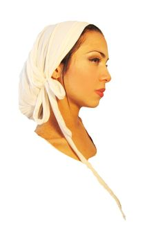 Tichel, Hair Snood, Head Scarf, Pre Tied Bandana Alternative: White Ivory Long Wrap. . . see many more styles in shop