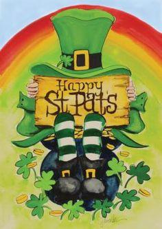 Toland Home Garden Happy Saint Pats 28 x 40 Inch Decorative Happy St Patrick's Day Leprechaun Rainbow Pot Gold House Flag Fete Saint Patrick, Sant Patrick, Saint Patricks Day Art, Happy St Patricks Day, Burlap Flag, St Patrick's Day Decorations, St Paddys Day, St Pats, Artists