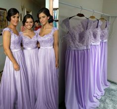 Hot Selling Purple Lilac Lavender Bridesmaid Dresses Lace Chiffon Maid of Honor Beach Wedding Party Dresses Plus SIZE Evening Dresses Online bridesmaid dress, bridesmaid dresses