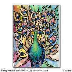 Estilo ARTpostcard del vitral del pavo real de Tarjeta Postal