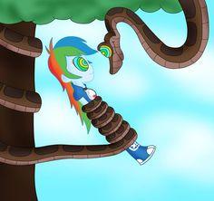 Kaa And Rainbow Dash Equestria Girl Color by jerrydestrtoyer Kaa The Snake, Rose Got, Rainbow Dash, Sally, Twilight, Hypnotized, Deviantart, Mlp, Artist