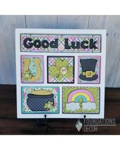 You won't need luck to create adorable St. Patrick's Day decor with the Good Luck Shadow Box Kit by Foundations Decor. The package includes an unfinished wood Scrapbook Box, Scrapbooking, Paper Crafts, Diy Crafts, Wooden Crafts, Shadow Box Frames, Altered Art, Wood Projects, Foundation