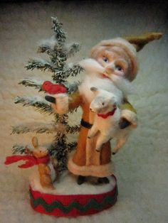 *NEEDLE FELTED ART ~ vintage looking Santa and friends
