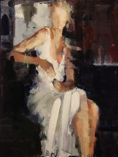 "Artist Fanny Nushka Moreaux (French: 1983) - oil 2014 Painting ""White Heat (SOLD)"""