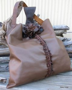 Brown Leather Tote Bag with Rustic Flower